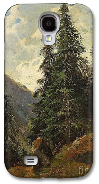 Landscape With Mountains Galaxy S4 Cases -  Mountain Landscape with Pines Galaxy S4 Case by Eugene Etienne Sordet