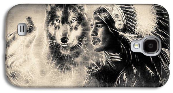 Native American Spirit Portrait Digital Galaxy S4 Cases -  Painting  Young Indian Warrior Accompanied With Two Wolves. Galaxy S4 Case by Jozef Klopacka