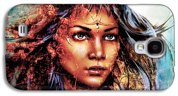 Person Galaxy S4 Cases -  Woman  Mystic Face Structure Background Fire Effect Collage Galaxy S4 Case by Jozef Klopacka