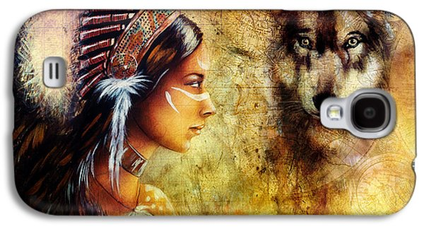 Native American Spirit Portrait Digital Galaxy S4 Cases -  Young Indian Woman Wearing  With  Wolf And Feather Headdress Galaxy S4 Case by Jozef Klopacka