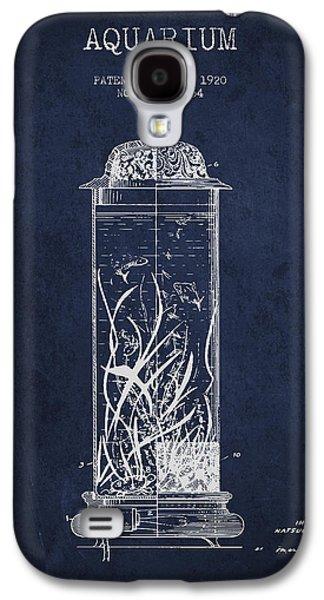 Aquarium Fish Galaxy S4 Cases - 1902 Aquarium Patent - Navy Blue Galaxy S4 Case by Aged Pixel