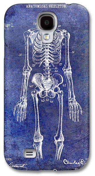 Skeleton Galaxy S4 Cases - 1911 Anatomical Skeleton Patent Blue Galaxy S4 Case by Jon Neidert