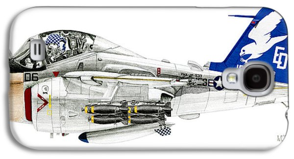 Aviator Drawings Galaxy S4 Cases - A-6E Intruder caricature Galaxy S4 Case by Morrell Cravens