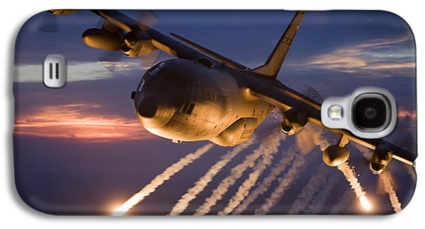 Dramatic Galaxy S4 Cases - A C-130 Hercules Releases Flares Galaxy S4 Case by HIGH-G Productions