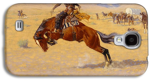 Snow Capped Galaxy S4 Cases - A Cold Morning on the Range Galaxy S4 Case by Frederic Remington