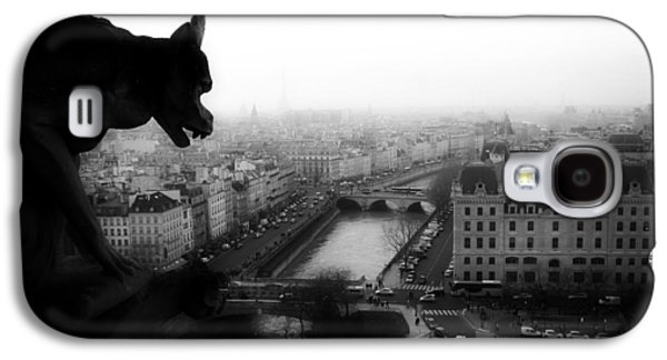 Black Sculptures Galaxy S4 Cases - A Gargoyles View Of Paris Galaxy S4 Case by Lilien