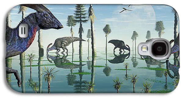 Crest Digital Art Galaxy S4 Cases - A Group Of Parasaurolophus Duckbill Galaxy S4 Case by Mark Stevenson