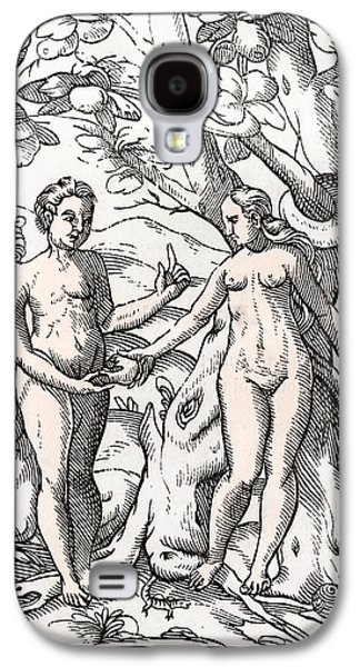 Switzerland Drawings Galaxy S4 Cases - Adam And Eve In The Garden Of Eden From Galaxy S4 Case by Ken Welsh
