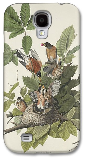 Feather Drawings Galaxy S4 Cases - American Robin Galaxy S4 Case by John James Audubon