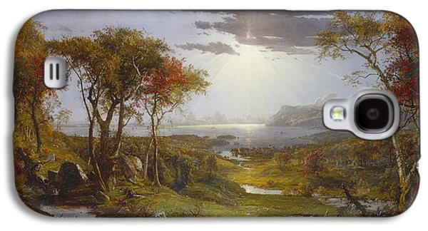 Autumn Landscape Drawings Galaxy S4 Cases - Autumn On The Hudson River  Galaxy S4 Case by Celestial Images