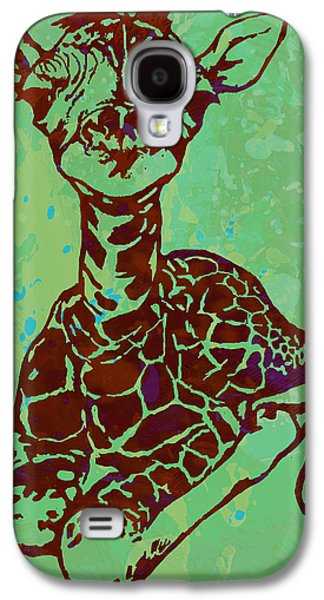 Baby Giraffe - Pop Modern Etching Art Poster Galaxy S4 Case by Kim Wang