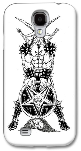 Religious Drawings Galaxy S4 Cases - Baphomets Shield Galaxy S4 Case by Alaric Barca