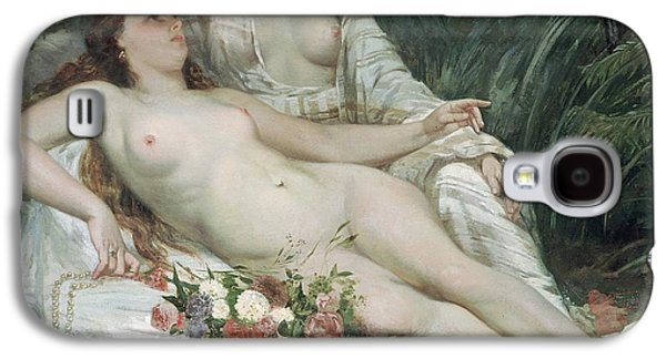Lesbian Paintings Galaxy S4 Cases - Bathers or Two Nude Women Galaxy S4 Case by Gustave Courbet