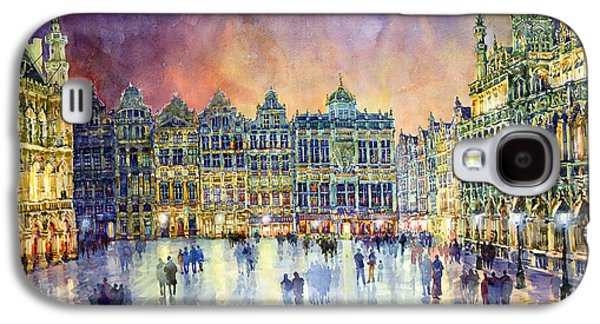 Watercolor Paintings Galaxy S4 Cases - Belgium Brussel Grand Place Grote Markt Galaxy S4 Case by Yuriy  Shevchuk