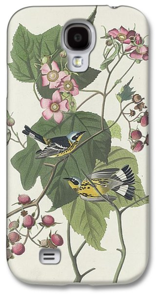 Feather Drawings Galaxy S4 Cases - Black and Yellow Warbler Galaxy S4 Case by John James Audubon