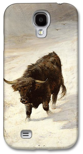 Bison Paintings Galaxy S4 Cases - Black Beast Wanderer Galaxy S4 Case by Joseph Denovan Adam