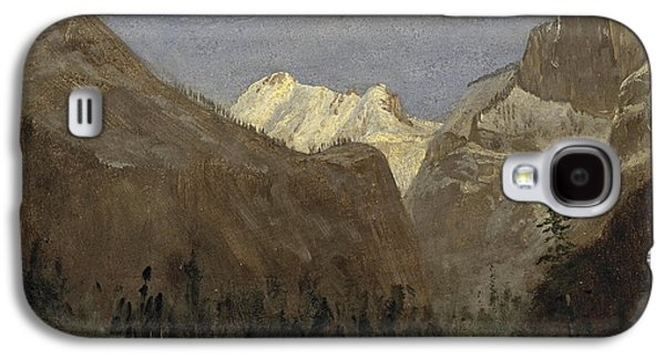 Half Dome Paintings Galaxy S4 Cases - Boating through Yosemite Valley with Half Dome in the Distance Galaxy S4 Case by Albert Bierstadt