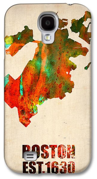 Cities Mixed Media Galaxy S4 Cases - Boston Watercolor Map  Galaxy S4 Case by Naxart Studio