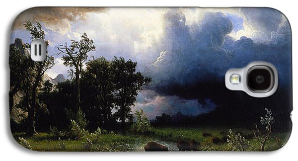 Thunder Paintings Galaxy S4 Cases - Buffalo Trail  The Impending Storm Galaxy S4 Case by Albert Bierstadt
