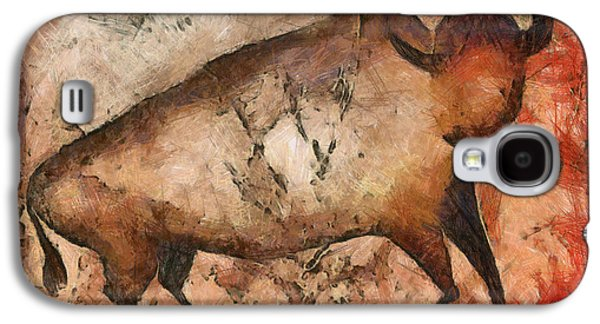 Bison Mixed Media Galaxy S4 Cases - Bull a la Altamira Galaxy S4 Case by Michal Boubin