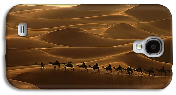 Northern Africa Galaxy S4 Cases - Camel Caravan in the Erg Chebbi Southern Morocco Galaxy S4 Case by Ralph A  Ledergerber-Photography