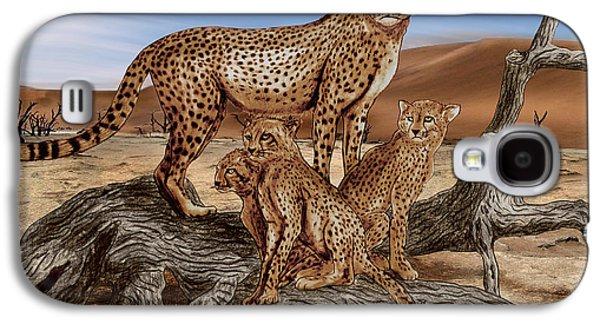 Cheetah Drawings Galaxy S4 Cases - Cheetah Family Tree Galaxy S4 Case by Peter Piatt