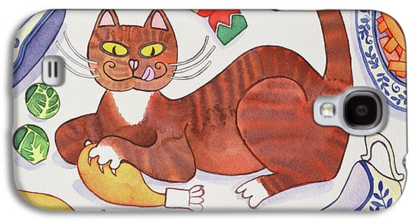 Christmas Cat And The Turkey Galaxy S4 Case by Cathy Baxter