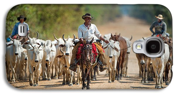 Cowboy Herding Cattle, Pantanal Galaxy S4 Case by Panoramic Images