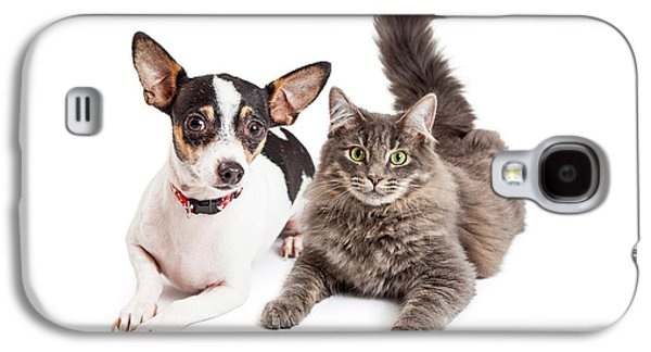 Cutouts Galaxy S4 Cases - Dog and Cat Laying Together Looking Forward Galaxy S4 Case by Susan  Schmitz