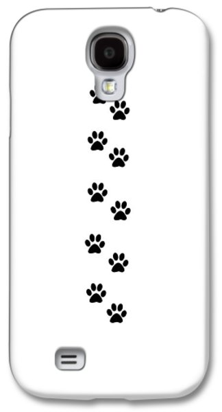 Puppy Digital Galaxy S4 Cases - Dog Paws in Black Color on White Background Galaxy S4 Case by Jelena Ciric