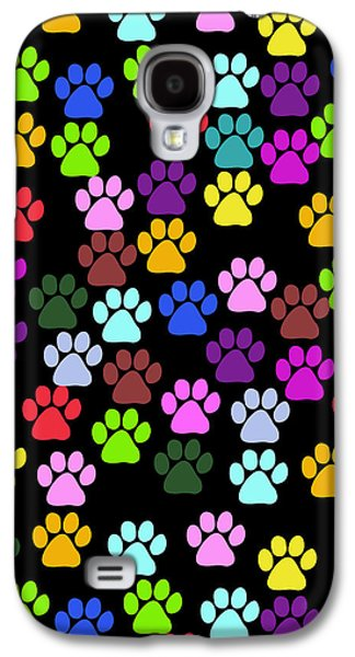 Puppy Digital Galaxy S4 Cases - Dog Paws in Red and Blue and Green Color Galaxy S4 Case by Jelena Ciric