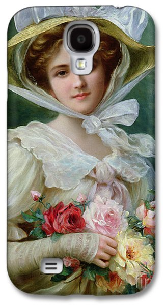 Elegant Lady With A Bouquet Of Roses Galaxy S4 Case by Emile Vernon
