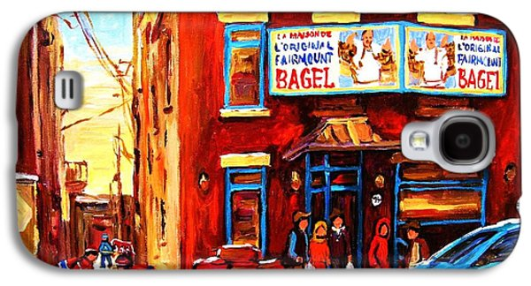 Montreal Storefronts Paintings Galaxy S4 Cases - Fairmount Bagel in Winter Galaxy S4 Case by Carole Spandau