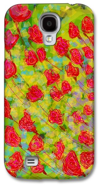 Abstract Digital Digital Galaxy S4 Cases - Flowers Galaxy S4 Case by Khushboo N