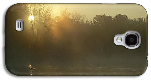 Waterscape Pyrography Galaxy S4 Cases - Foggy Mississippi river Sunrise Galaxy S4 Case by Kent Lorentzen