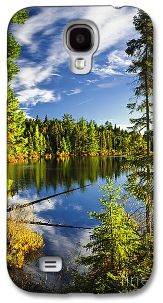 Reflecting Water Galaxy S4 Cases - Forest and sky reflecting in lake Galaxy S4 Case by Elena Elisseeva