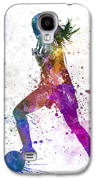 Girl Playing Soccer Football Player Silhouette Galaxy S4 Case by Pablo Romero