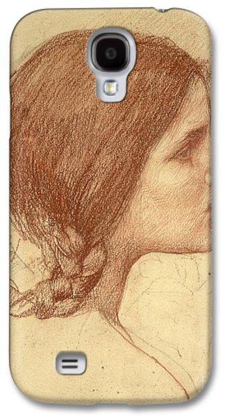 Head Drawings Galaxy S4 Cases - Head of a Girl Galaxy S4 Case by John William Waterhouse