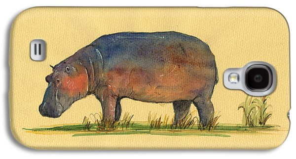 Hippo Watercolor Painting  Galaxy S4 Case by Juan  Bosco