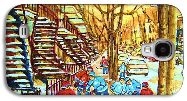 Quebec Streets Paintings Galaxy S4 Cases - Hockey Game near Winding Staircases Galaxy S4 Case by Carole Spandau