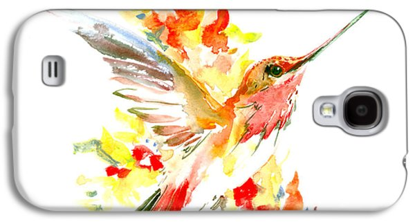 Hummingbird And Flame Colored Flowers Galaxy S4 Case by Suren Nersisyan