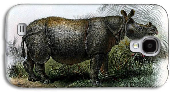 One Horned Rhino Galaxy S4 Cases - Javan Rhinoceros, Endangered Species Galaxy S4 Case by Biodiversity Heritage Library