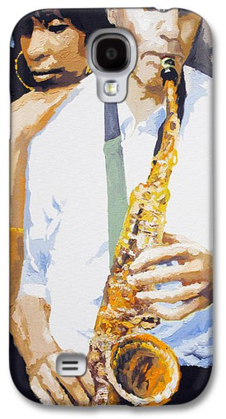 Jazz Galaxy S4 Cases - Jazz Muza Saxophon Galaxy S4 Case by Yuriy  Shevchuk