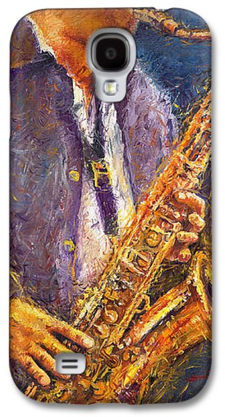 Jazz Galaxy S4 Cases - Jazz Saxophonist Galaxy S4 Case by Yuriy  Shevchuk