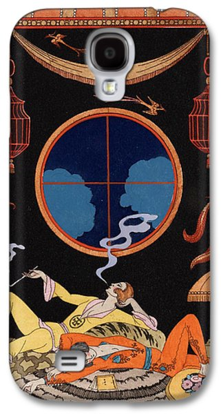 Lounge Drawings Galaxy S4 Cases - La Paresse Galaxy S4 Case by Georges Barbier
