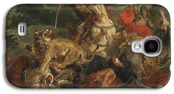 Delacroix Galaxy S4 Cases - Lion hunt Galaxy S4 Case by Eugene Delacroix