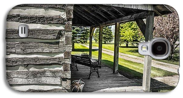 Log Cabin Interiors Galaxy S4 Cases - Log House with Veranda Galaxy S4 Case by Donald  Erickson