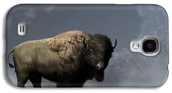 Bison Digital Art Galaxy S4 Cases - Lonely Bison Galaxy S4 Case by Daniel Eskridge