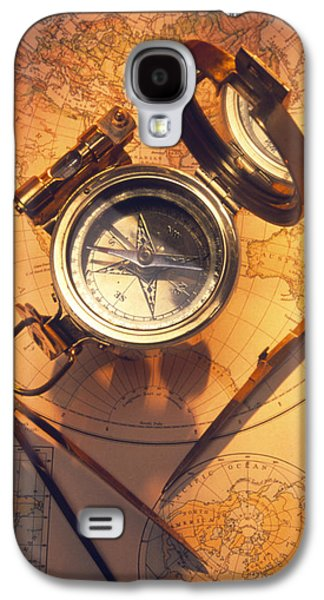 Compass Galaxy S4 Cases - Magnetic Compass On A Map Galaxy S4 Case by Tony Craddock