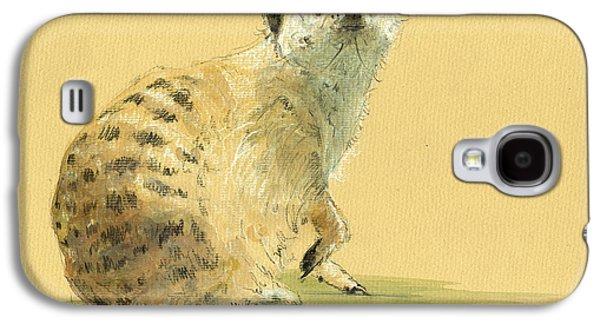 Meerkat Or Suricate Painting Galaxy S4 Case by Juan  Bosco